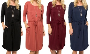 Women's Dress with Drawstring and Curved Hem. Plus Sizes Available.