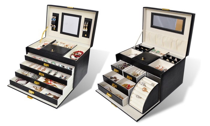 coffret bijoux avec tiroirs et miroir groupon. Black Bedroom Furniture Sets. Home Design Ideas