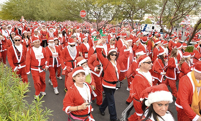 Opportunity Village Foundation - 3rd Street Stage at the Fremont Street Experience: Entry for One or Two Adults or Two Adults and Two Children to the Las Vegas Great Santa Run 5K (Up to 41% Off)