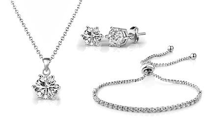 Solitaire Freundschafts-Set Halskette, Ohrringe und Armband, verziert mit Kristallen von Swarovski® (52% sparen*)