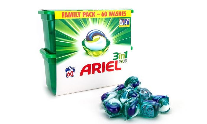 ariel pods 3 en 1 60 360 doses groupon. Black Bedroom Furniture Sets. Home Design Ideas