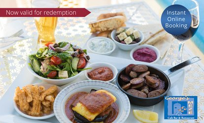 Greek Platter with Wine for Two ($45) or Four People ($89) at George's Meze (Up to $176 Value)