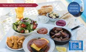 George's Meze: Greek Platter with Wine for Two ($45) or Four People ($89) at George's Meze (Up to $176 Value)