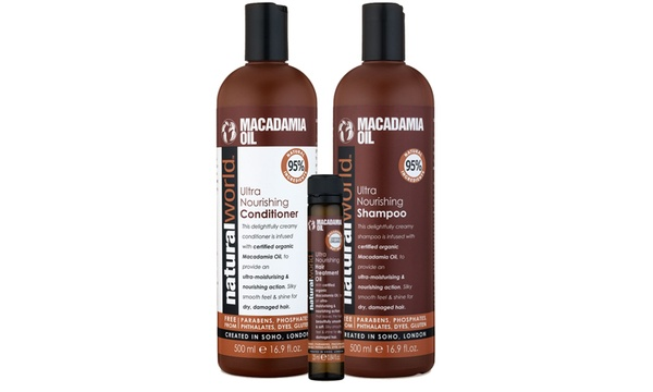 Up To Four Sets Of Natural World Free From Macadamia Oil Shampoo Conditioner And Oil