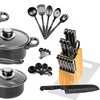 Carbon Steel Cookware Starter Set with Knife Block (36-Piece)