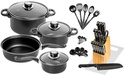 36-Piece Carbon Steel Cookware Starter Set with Knife Block