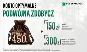 """Bank BGŻ BNP Paribas S.A.: 5 zł za groupon upoważniający do wzięcia udziału w promocji """"Konto na zakupy"""" oraz otrzymania nawet 450 zł w prezencie"""
