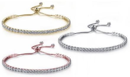 Set di 3 bracciali tennis con cristalli Swarovski® e chiusura scorrevole disponibili in 3 colori