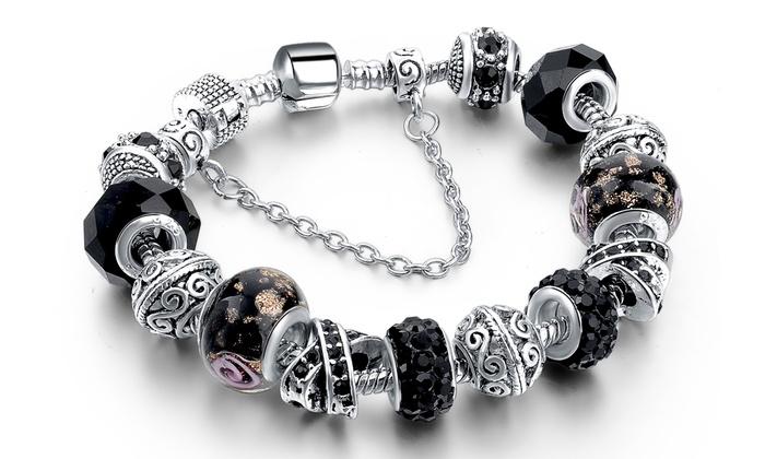 Groupon Goods Global GmbH Bracelets Charm\u0027s plaqué argent et ornés de  cristaux Swarovski®,