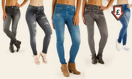 One £14.99 or Two £26.99 ThreePacks of Fleece Lined Winter Slimming Jeggings Up to Size 24