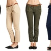Women's Solid Woven Junior Pants with Belt