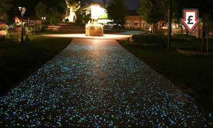 Up to 500 Pieces of Glow in the Dark Pebbles, White or MultiColoured