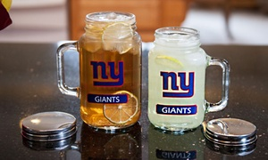 NFL Mason Glass Jar with Stainless Steel Lid (20 or 30 Oz.)