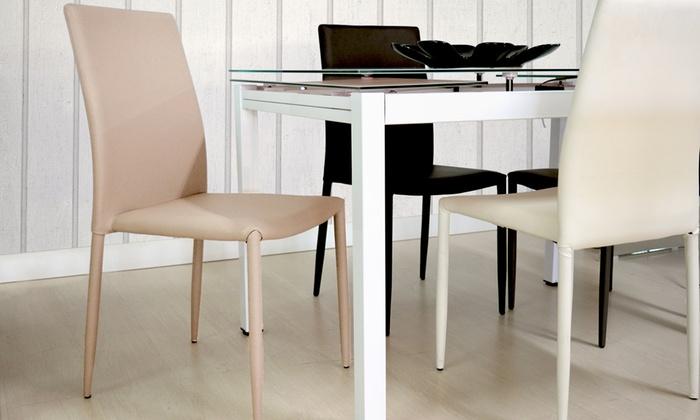 Set di 6 sedie in ecopelle Romy | Groupon Goods