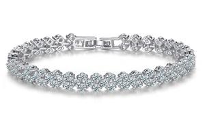 Armband verguld met 18 karaats witgoud met 99 transparante kristallen