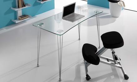 Tavolino per PC con piano in vetro