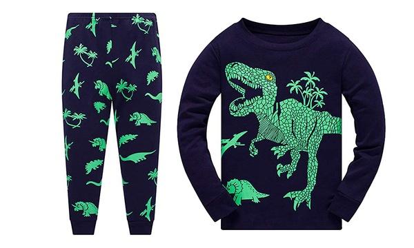 Conjunto De Pijama Para Ninos Con Dinosaurios Con Camiseta Y Pantalon
