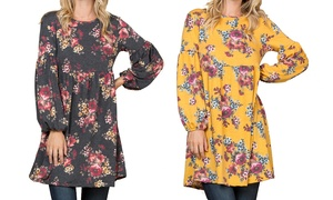 Women's Floral Babydoll Tunic Dress. Plus Sizes Available.