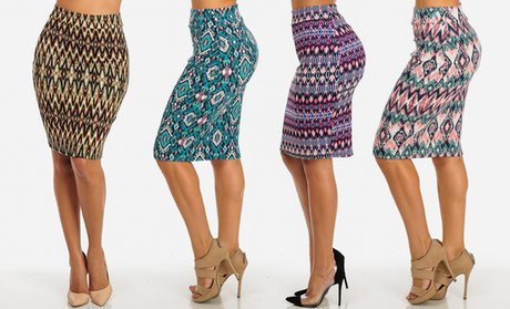 Women's Junior High-Waisted Midi-Length Pencil Skirts