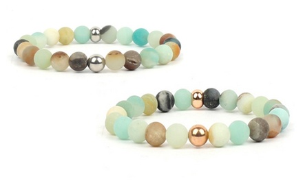 One, Two or Four Amazonite Beaded Chakra Bracelets