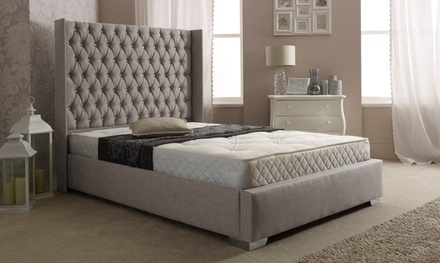 cannes linen buttoned wing bed