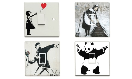 Two, Four or Eight Banksy Light Switch Decals in Choice of Design