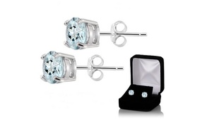 2.00 CTW Genuine Aquamarine Stud Earrings in Sterling Silver at 2.00 CTW Genuine Aquamarine Stud Earrings in Sterling Silver, plus 6.0% Cash Back from Ebates.