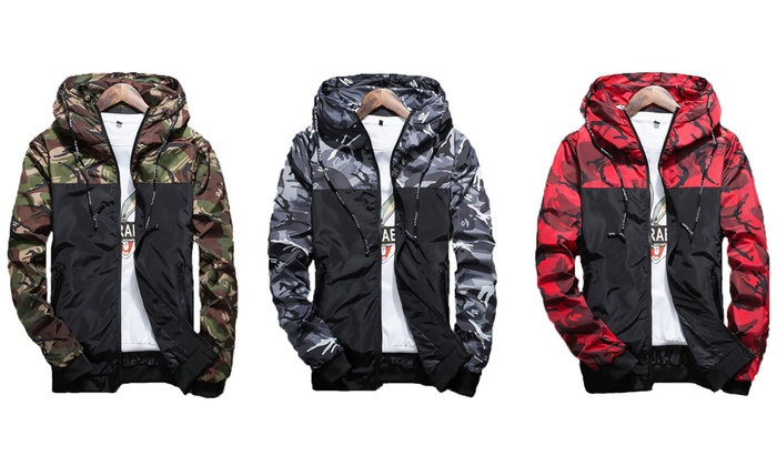 Men's Hooded Camo Jacket in Choice of Colour and Size for £18.98
