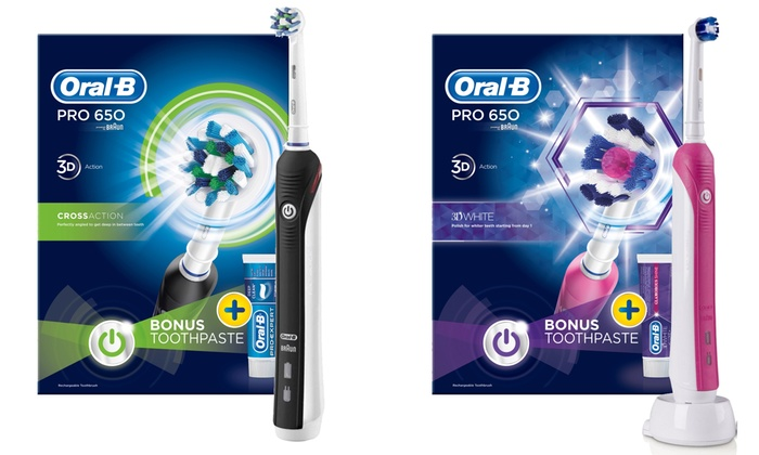 Groupon Goods Global GmbH: Braun Oral-B Pro 650 Limited Edition Electric Toothbrush & 3D White Toothpaste from £22.99 With Free Delivery (54% Off)