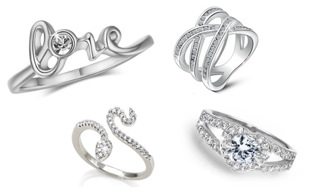 :Un paio di orecchini e anello Double Sparkling / XS