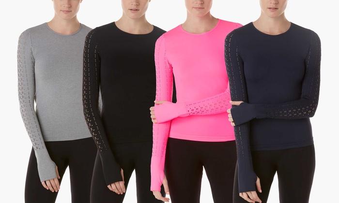 Form + Focus Women's Laser-Cut Seamless Long-Sleeve T-shirt   Groupon Exclusive