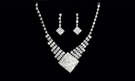 One or Two Diamante Drop Necklace and Earrings Sets