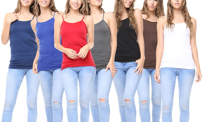 24bbffb3 8 Pack: Women's Premium Seamless Basic Layering Camis Tank Top One Size  Multi-color