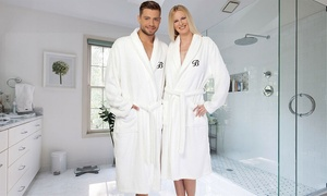 Linum Monogrammed Turkish Cotton Terry Robe with Black Script Initial