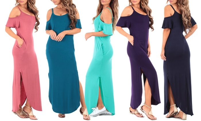Cold-Shoulder Maxi Dress with Pockets