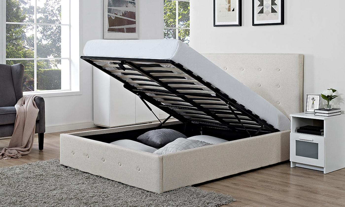 Verona Fabric Storage Ottoman Bed with Optional Orthopaedic Mattress for £179