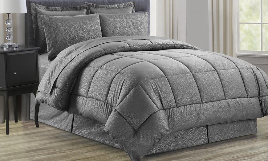 Vine Printed Microfiber 8 Piece Bed In A Bag Set CHOCOLATE