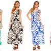 Women's Damask Smocked Waist Maxi Dress