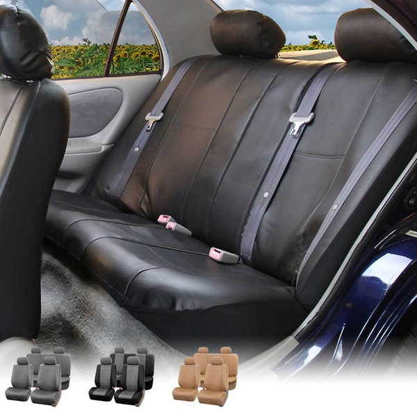 up to 55% off on full set of car seat covers groupon goodsfull set of faux leather seat covers