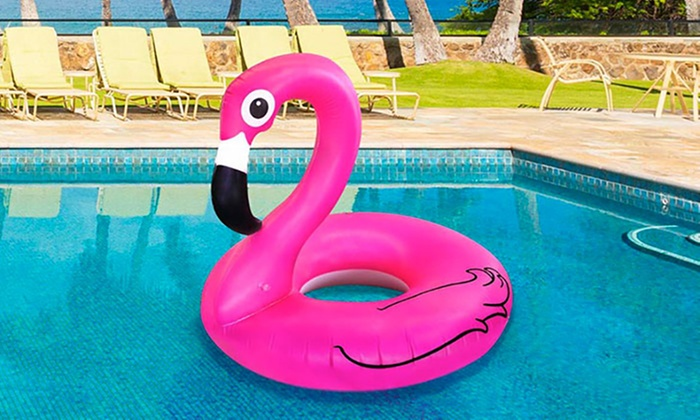 giant inflatable flamingo buoy groupon goods. Black Bedroom Furniture Sets. Home Design Ideas