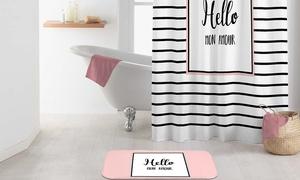 Rideau de douche et tapis de bain