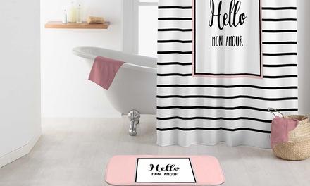 Rideau de douche et tapis de bain ou un pack contenant les deux