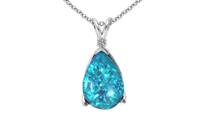 6fa82af97 3.00 CTW Blue Fire Opal and Diamond Accent Pendant in Sterling Silver