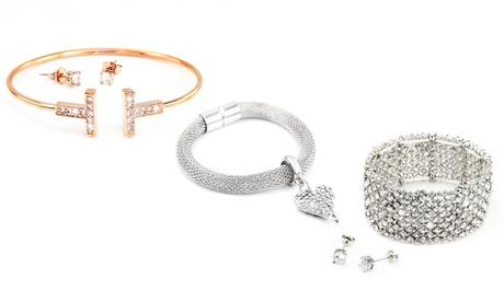 Bracciale, collana e orecchini collezione Grecian disponibile in vari colori