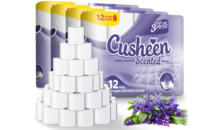 60 or 120 Rolls of Cusheen Quilted Lavender Toilet Paper from £14.20