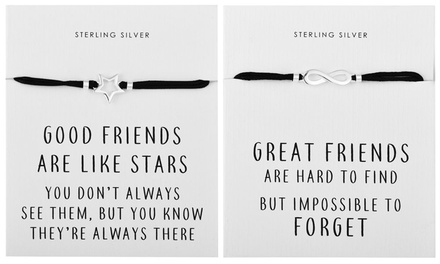 One, Two or Four Philip Jones Sterling Silver Quote Bracelets