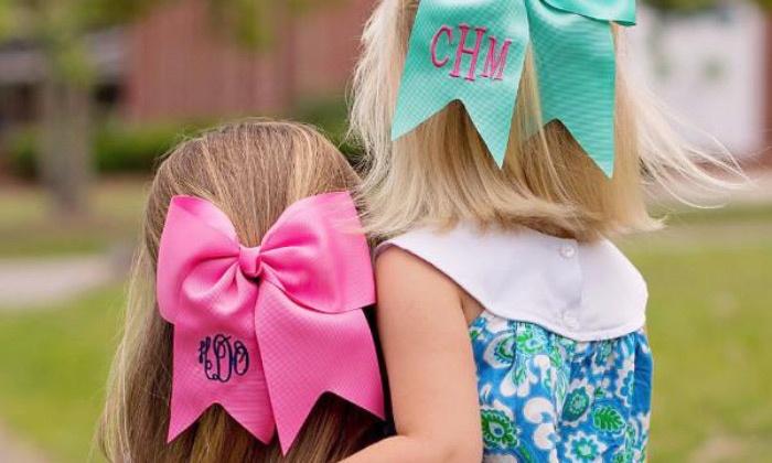 Turquoise Monogram TODDLER Hair Bow