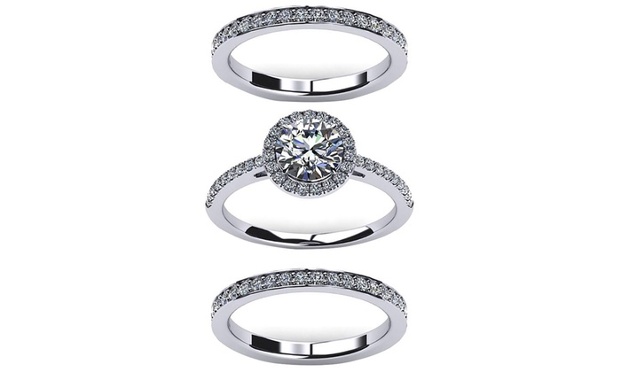 c67c53d7b90 5.02 CTTW Engagement Ring Set Made with Swarovski Elements (3-Piece)