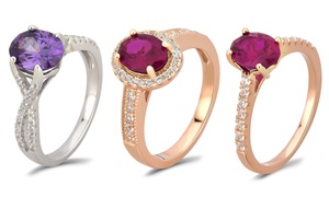 Gemstone Engagement Rings in Sterling Silver by L'Artiste