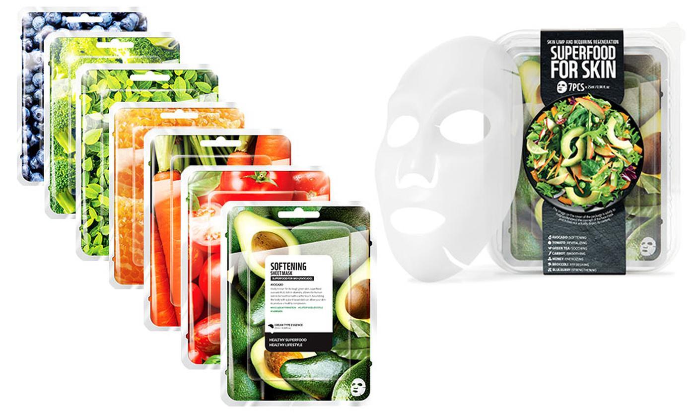 Seven-Pack of Energising or Hydrating Korean Superfood Vegan Face Masks